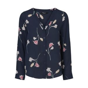 Vero Moda Floral Blouse (sz M, navy)